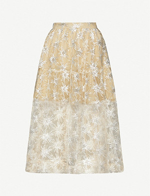 MAJE Star-sequinned tulle skirt