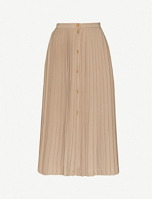 MAJE Button-detail pleated crepe skirt