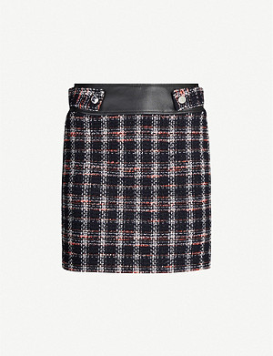 MAJE Faux-leather trim tweed skirt