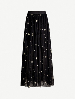 MAJE Star-embroidered tulle skirt