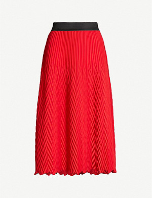 MAJE Jissa chevron-patterned crepe midi skirt