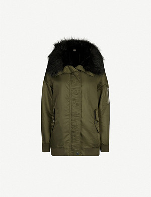 MAJE Faux fur-trimmed shell jacket