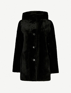 MAJE Hooded shearling coat