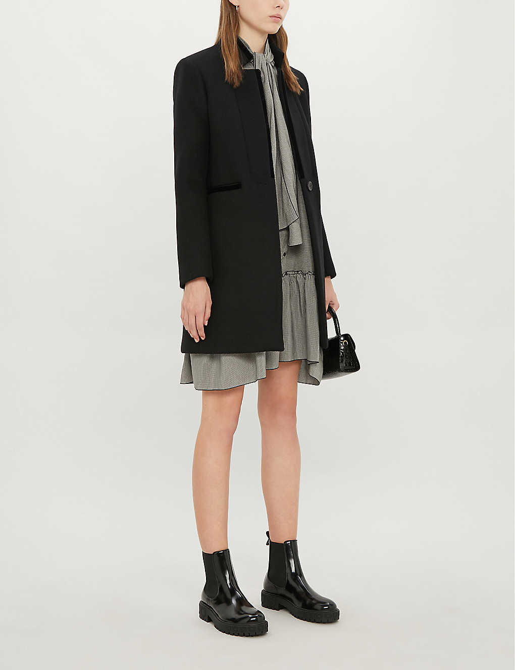 MAJE: Galar long-sleeved wool-blend coat