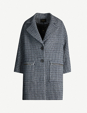MAJE Garly houndstooth wool-blend coat