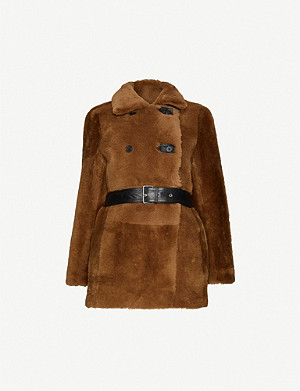 MAJE Gaban double-breasted leather and shearling coat