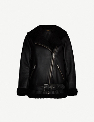 MAJE Gombery leather and faux-shearling jacket