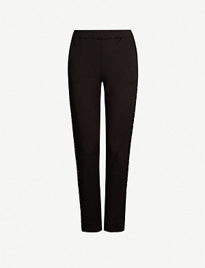 MAJE Porto stud-embellished tapered mid-rise crepe trousers