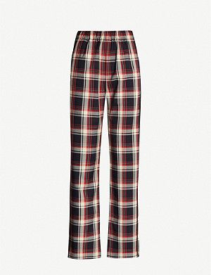 MAJE Check-print high-rise woven trousers