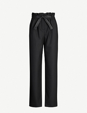 MAJE Paper bag waist stretch-twill trousers