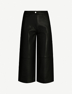 MAJE High rise leather culottes