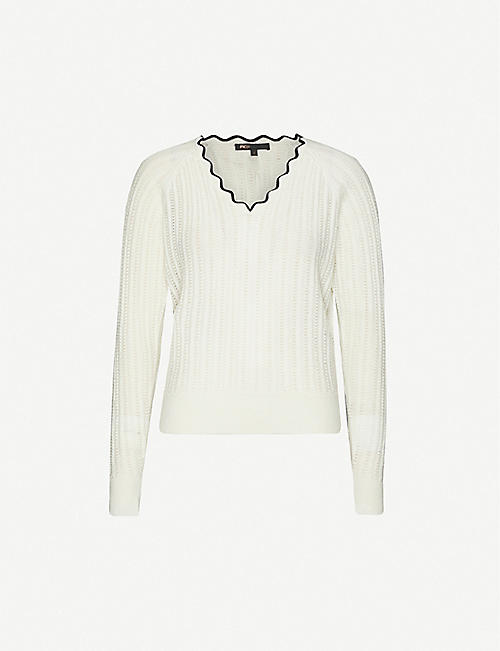 MAJE Marcio scallop-trim wool-blend jumper