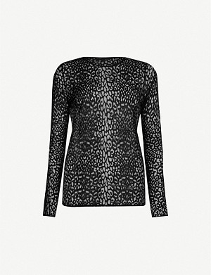 MAJE Hibault leopard-print stretch-knit jumper