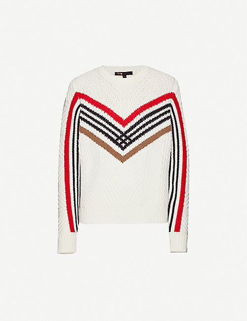 MAJE Mimosa chevron-pattern wool-blend jumper