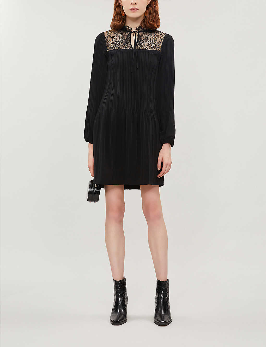 MAJE: Lace-panel woven dress