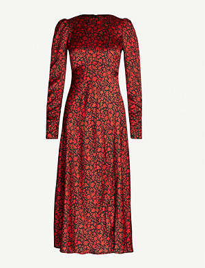 MAJE Floral print satin midi dress
