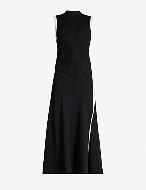 MAJE Contrast-trim flared stretch-knit dress