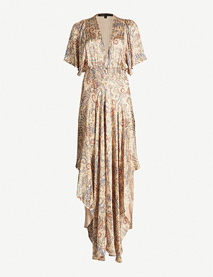 MAJE Rachel paisley-print satin dress
