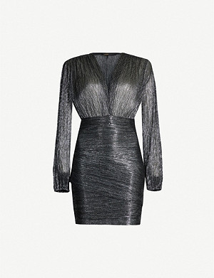 MAJE Unny metallic V-neck mini dress