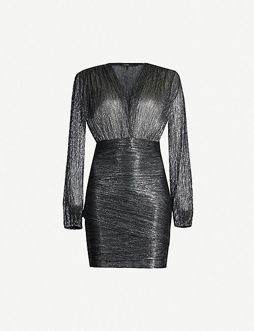 afe5a6106ed2 MAJE Unny metallic V-neck mini dress