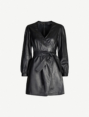 MAJE Wrap-around leather mini dress