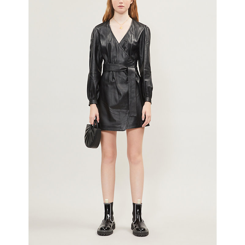 Maje Dresses Wrap-around leather mini dress