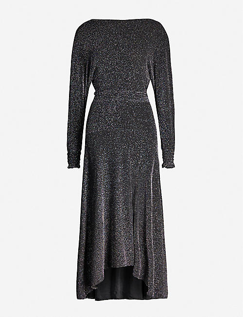 MAJE Rio metallic woven midi dress