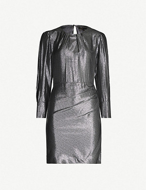 MAJE Iridescent metallic puffed-sleeve dress