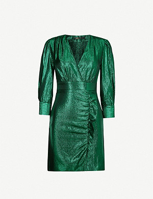 MAJE Rexy woven metallic mini dress