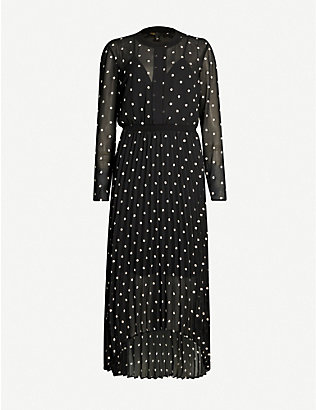 MAJE: Floral-embroidered crepe dress