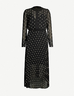 MAJE Floral-embroidered crepe dress