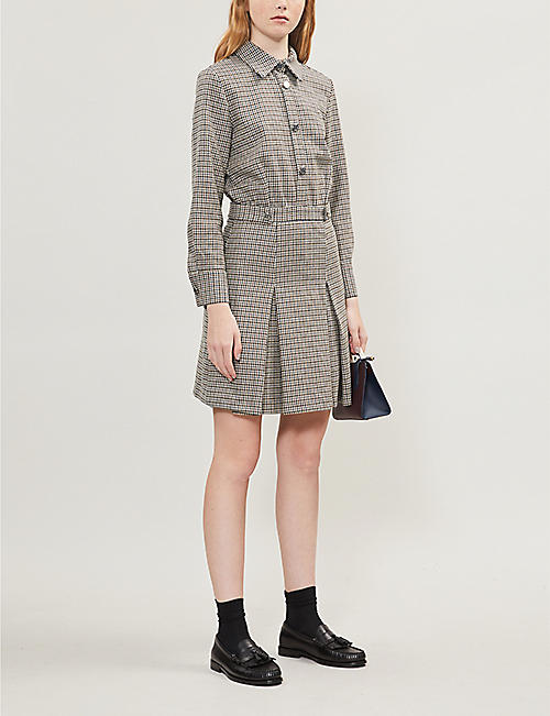 MAJE Houndstooth check wool-blend dress