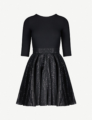MAJE Romy knitted and sequinned tulle mini dress