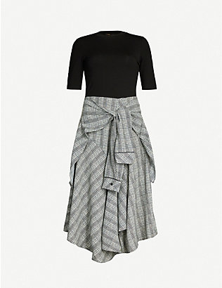 MAJE: Rapri checked-skirt stretch-jersey and crepe midi dress