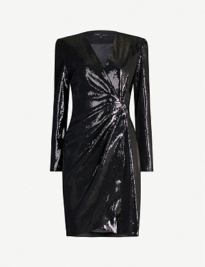 MAJE Wrap-over sequin-embellished velvet dress