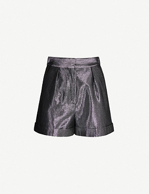 MAJE Iridescent metallic high-rise shorts