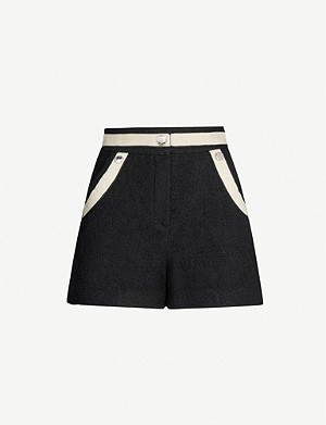 MAJE High-rise contrast trim boucle shorts