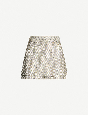 MAJE Metallic jacquard skirt overlay shorts
