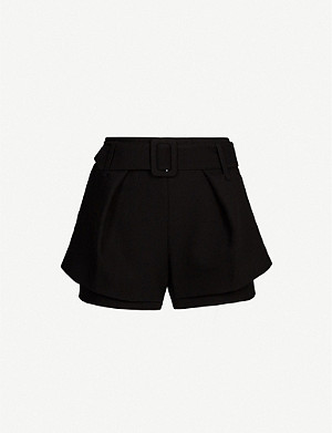 MAJE Overlay-detail stretch-twill shorts