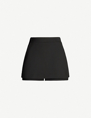 MAJE High-rise crepe shorts