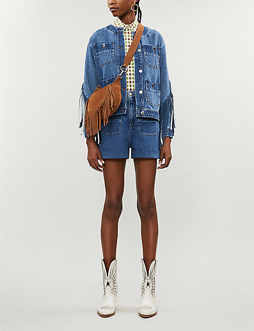 MAJE High-rise stretch-denim shorts