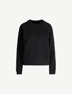 MAJE Striped stud-embellished neoprene sweatshirt