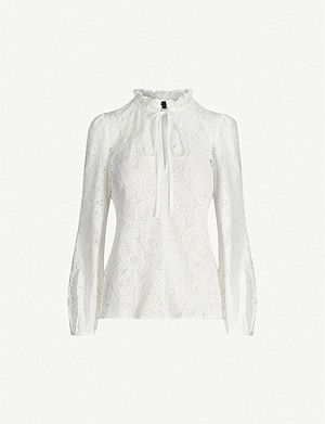 MAJE Guipure tie-detail lace top