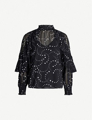 MAJE Frilled-trim star-print crepe blouse