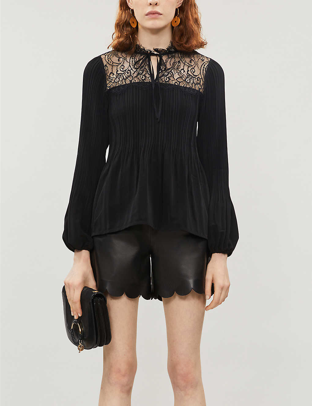 MAJE: Lace-trimmed crepe blouse