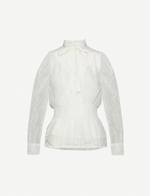 MAJE Lani frilled-collar floral lace top