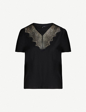 MAJE Lace-panel round-neck cotton T-shirt