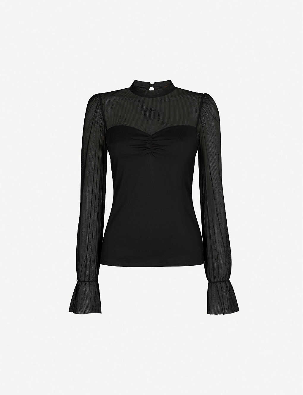 MAJE: Tilda flared-cuffs stretch-jersey top