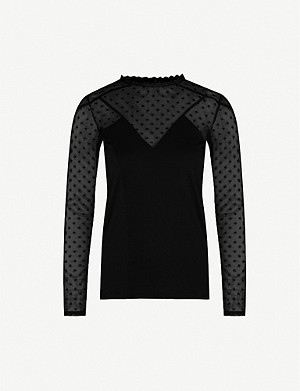 MAJE Polka-dot embroidered stretch-jersey and mesh top