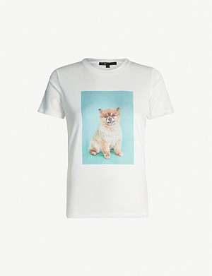 MAJE Graphic-print cotton-jersey T-shirt